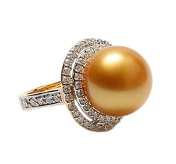 Yellow Southsea Pearl and diamonds Ring