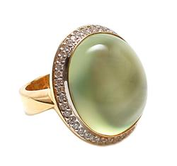 Oval Prehnite and diamonds Ring