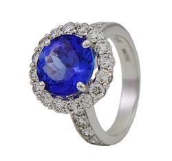Round Tanzanite and diamonds Ring